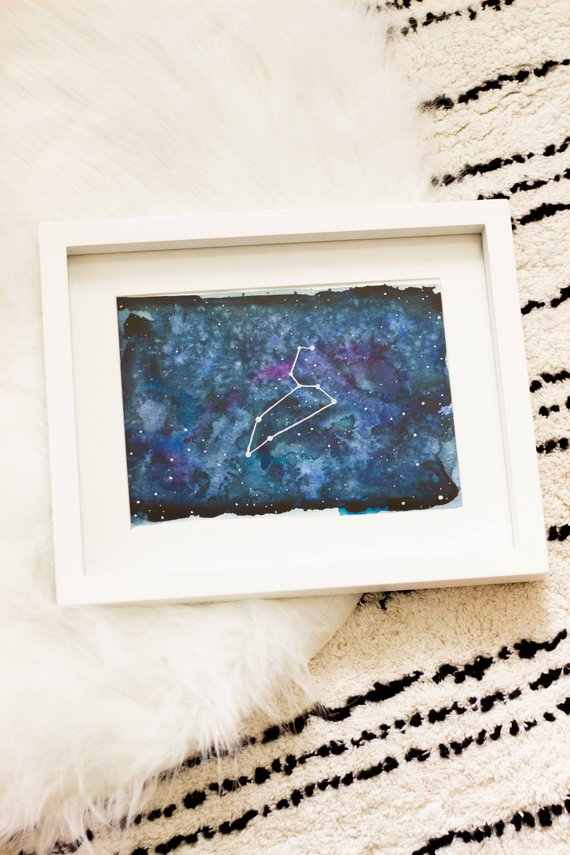 Men's gift ideas a blue star constellation painting in white frame