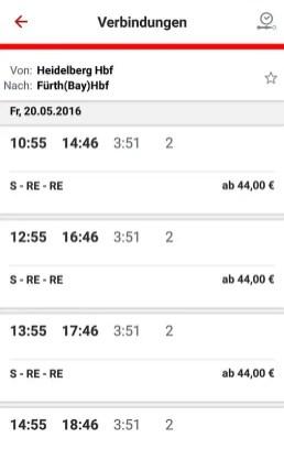 Verbindung und Preise mit der S- und Regionalbahn