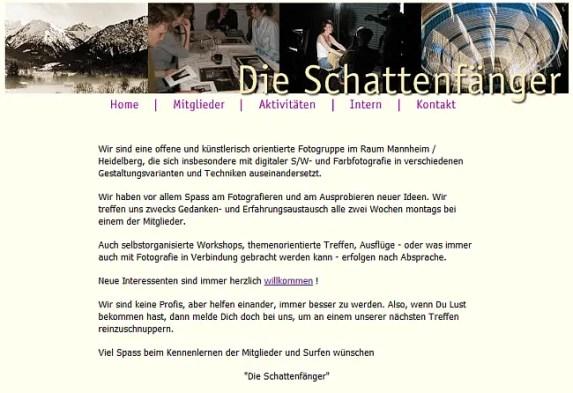 Bildschirmfoto der Startseite des Fotoclubs Die Schattenfänger