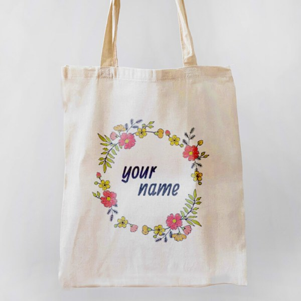 Floral Wreath Canvas Tote-bag Freesize, Custom our iTee template and make it yours. Product View