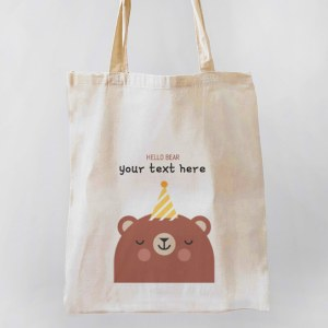 Hello Bear Canvas Tote-bag Freesize, Custom our iTee template and make it yours. Product View