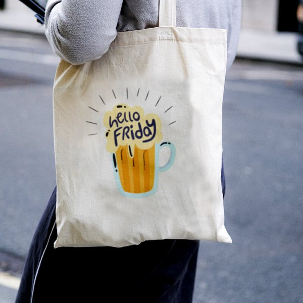 Hello Friday Canvas Tote-bag Freesize, Custom our iTee template and make it yours. Model View