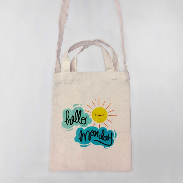 Hello Monday Mini Canvas Tote-bag, Custom our iTee template and make it yours. Product View