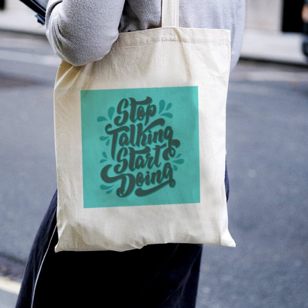 Stop Talking, Start Doing Canvas Tote-bag Freesize, Custom our iTee template and make it yours. Model View