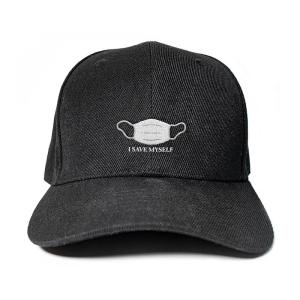 I Save Myself with medical mask in Black Embroidered Cap, Custom our iTee template and make it yours. Product View