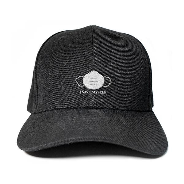 I Save Myself with N95 mask in Black Embroidered Cap, Custom our iTee template and make it yours. Product View