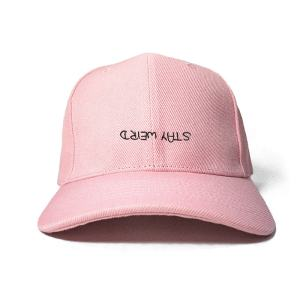 Stay Weird in Baby Pink Embroidered Cap, Custom our iTee template and make it yours. Product View