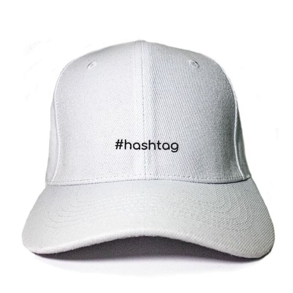 #hashtag in White Embroidered Cap, Custom our iTee template and make it yours. Product View