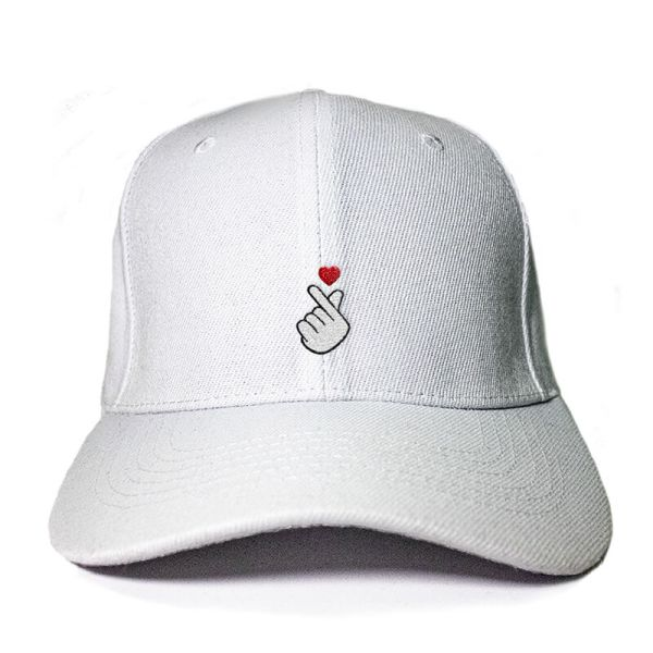 Finger Heart in White Embroidered Cap, Custom our iTee template and make it yours. Product View