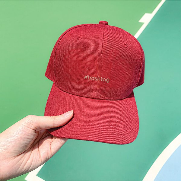 Hashtag Wine Red Embroidered Cap, Custom our iTee template and make it yours. Model View