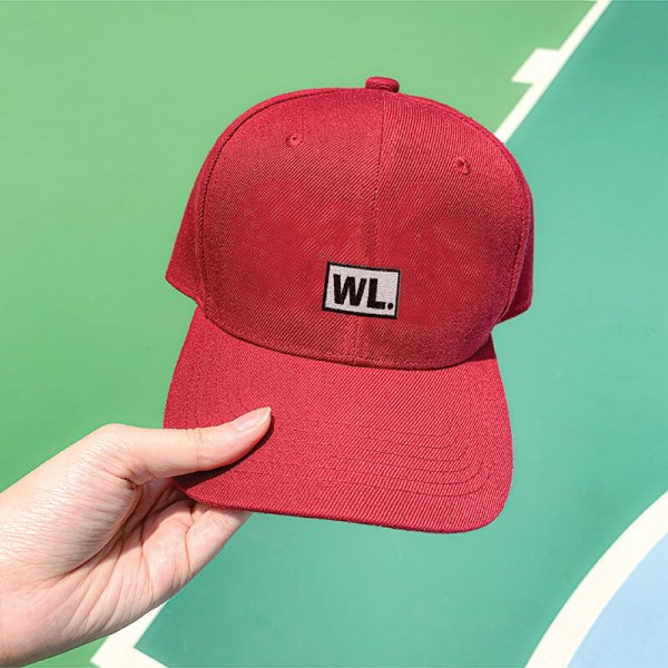 Initial Block Wine Red Embroidered Cap, Custom our iTee template and make it yours. Model View