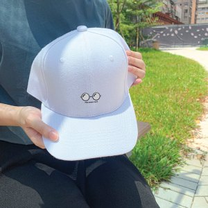 Nerdy Face White Embroidered Cap, Custom our iTee template and make it yours. Model View