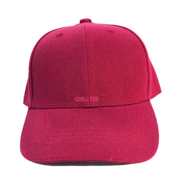 Custom and Embroider your Wine Red Kids Cap Front Side View