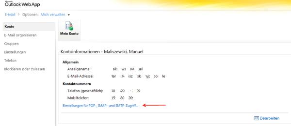 Exchange Server 2010 – IMAP, POP3 und SMTP Einstellungen im Outlook WebApp anzeigen