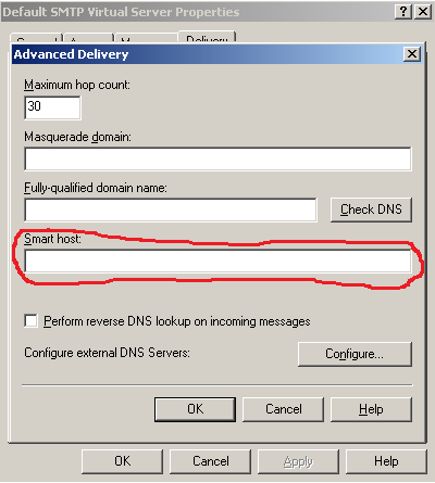 exchange 2003 v smtp smart host