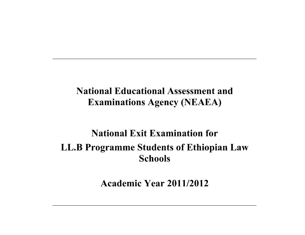 Exit EXam 2012 (204 E C ) - Ethiopian Legal Brief