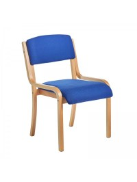 Prague wooden conference chair with no arms - blue
