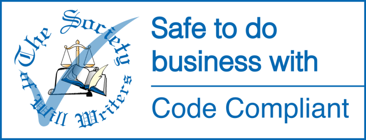 """The Society of Will Writers - safe to do business with Code Compliant"" logo"