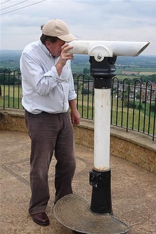 Peter Isaac looking for Chilton Cantelo from an observation platform on Lodge Hill, above Castle Cary. 2011