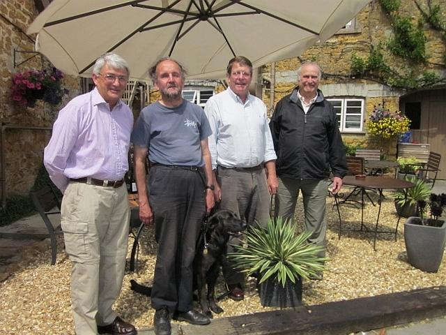 Edward Lutley, Peter Isaac with Meg his guide dog for the blind, Peter Isaac & Clive Lewis-Hopkins. 2011 Castle Cary
