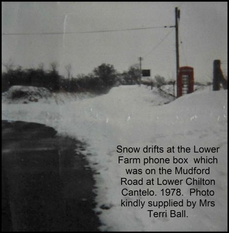 Snow drifts 1978 phone box Lower Chilton Cantelo at Lower Farm