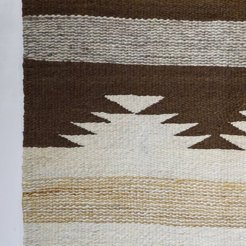 """Ca. 1950s Crystal Hand spun wool, natural colors and aniline dyes. 55""""x36"""""""