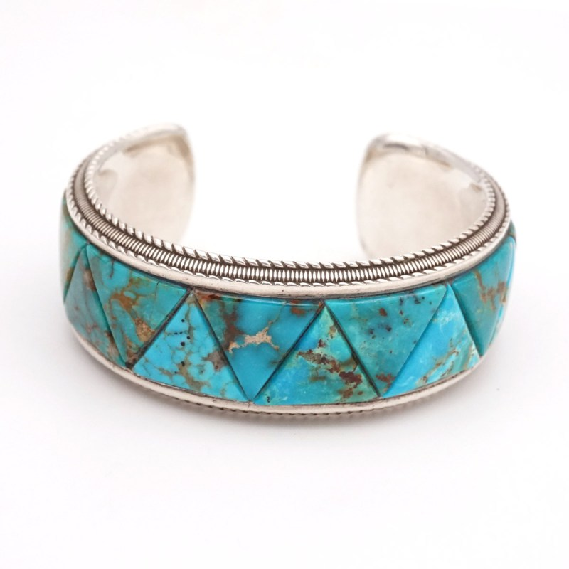 "Gabriel Abrums Sterling Silver, Kingman Turquoise Bracelet Length: 5.5"" with 1"" opening"