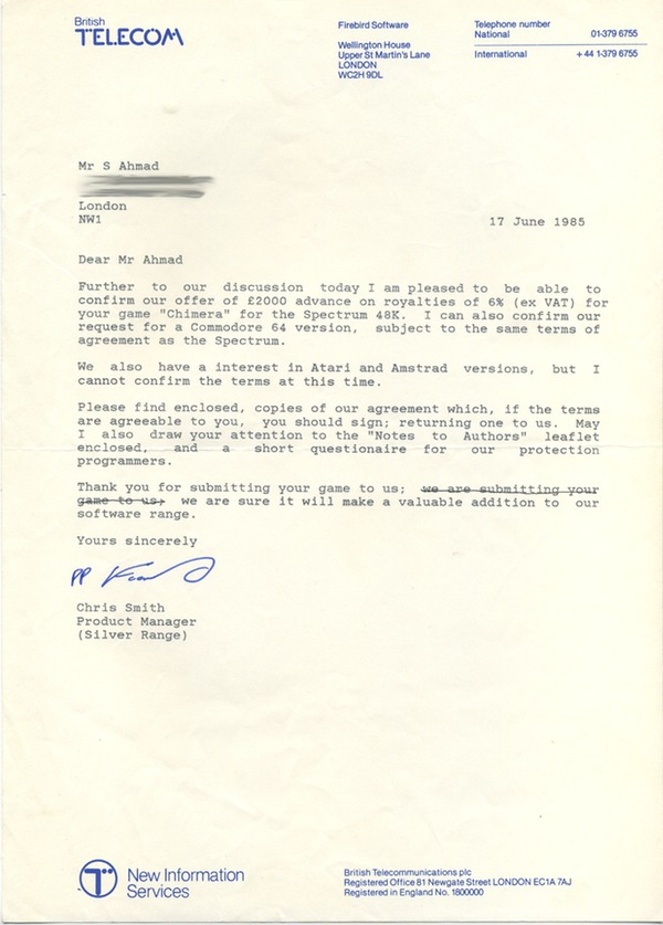 Offer Letter From Telecomsoft CHIMERA