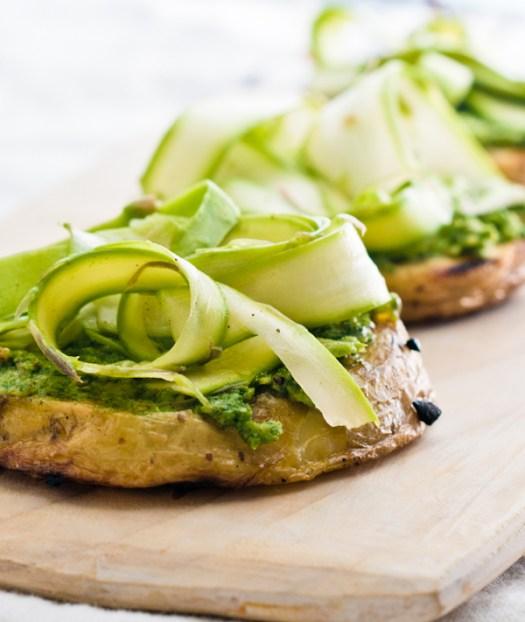grilled potatoes, radish-green pesto, shaved asparagus