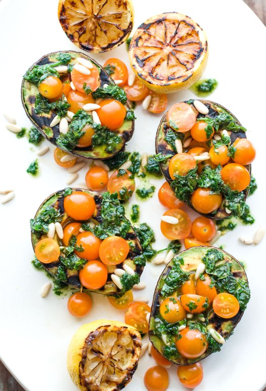 Grilled Avocados with Tomatoes and Herbs | Amy Roth Photo