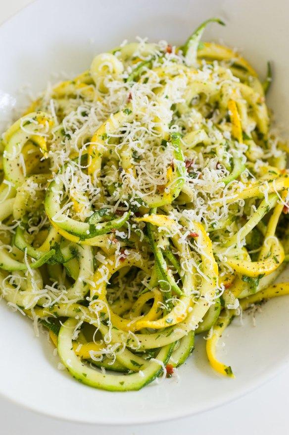 Zucchini Pasta Top View | Minimally Invasive