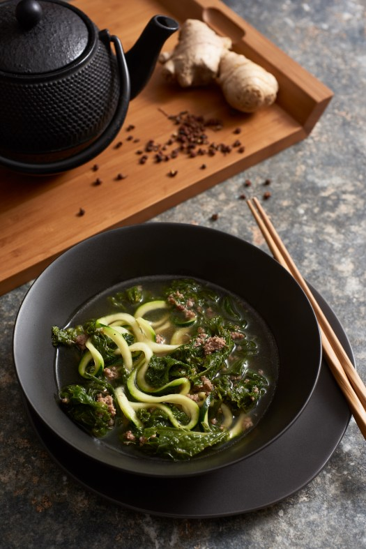 Whole 30-compliant Bon Appetit's Spicy Pork with Mustard Greens Soup by Amy Roth Photo