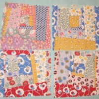 Wonky log cabin quilt blocks are great for scrapbusting.