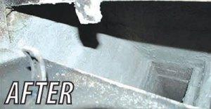 HeatShield Cerfractory Foam application seals gaps, cracks, holes and streamlines smoke chamber walls