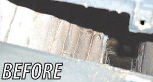Exposed brick corbels before HeatShield Cerfractory Foam