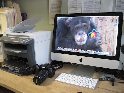 new imac, printer, camera