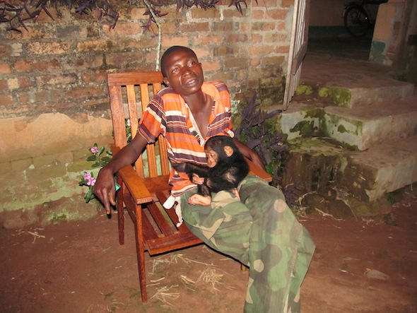 1 drunk soldier with baby chimp