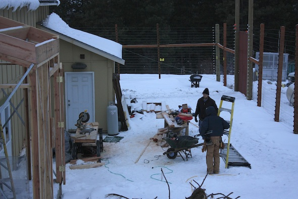 greenhouse construction in snow