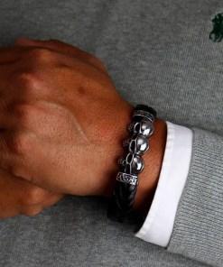 Lederarmband Männerarmband Totenkopf Herrenarmband