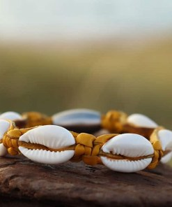 Geflochtenes Leder Muschelarmband Kauri-muschel