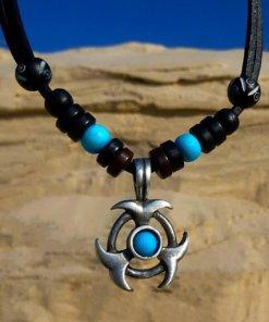 Lederkette Tribalkette Metallanhänger Herrenkette
