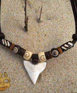 Herrenkette Haizahn-Lederkette Halskette