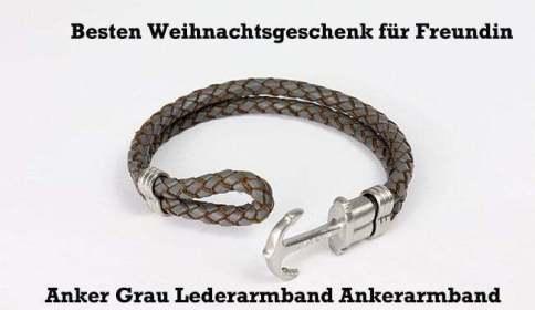 Anker Grau Lederarmband Ankerarmband