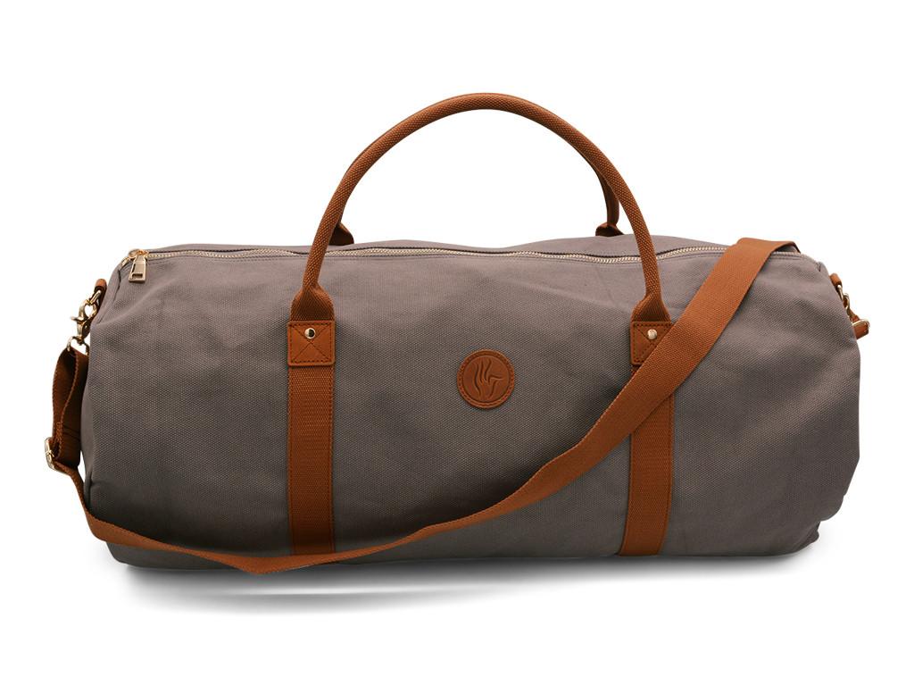 sac a tapis de yoga navy bag coton taupe 70cm x 30 cm