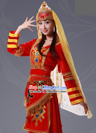 Chinese Tajik Minority Costume And Hat Complete Set