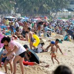 Chinese beach during New Year holidays