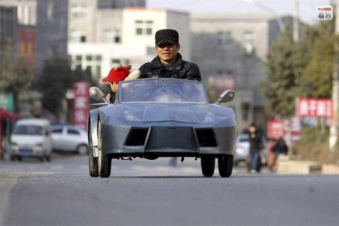 """A man made his """"Lamborghini"""" sports car for his grandchildren"""