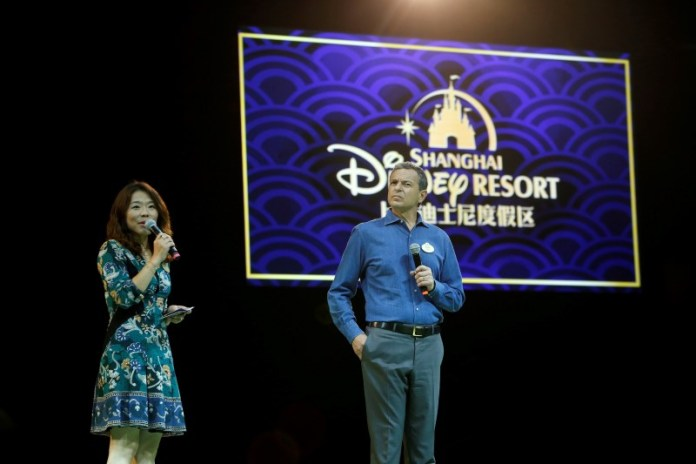 Disney's Chief Executive Officer Bob Iger (R) holds a news conference at Shanghai Disney Resort as part of the three-day Grand Opening events in Shanghai, China, June 15, 2016. REUTERS/Aly Song