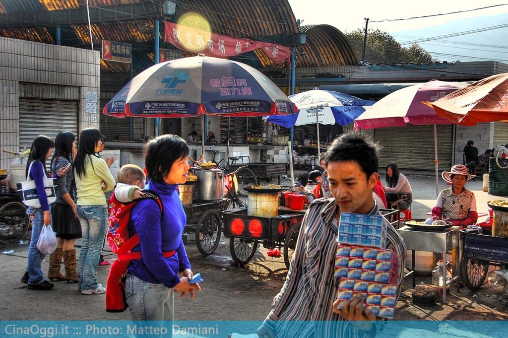 Market in a China's urban village