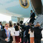 U.S. President Barack Obama disembarks from Air Force One at Hangzhou Xiaoshan International Airport in Hangzhou, China September 3, 2016. REUTERS/Jonathan Ernst